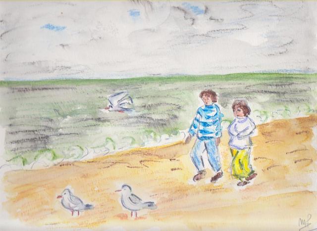 Normandie / promeneurs sur la plage Normandie-promeneurs-sur-la-plage.jpg